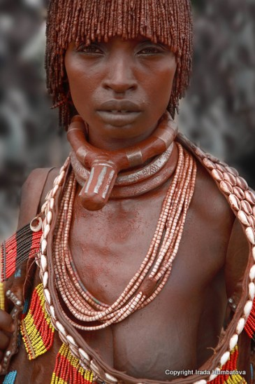 Hamer woman - The natural beauty of Ethiopian women captured here on a Hamer woman at Turmi market, South Omo Valley