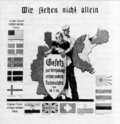 Nazi Poster -- Nazi propaganda poster on compulsory sterilization.The Nazis enacted a compulsory sterilization law in 1933. Other countries enacted or considered sterilization legislation.