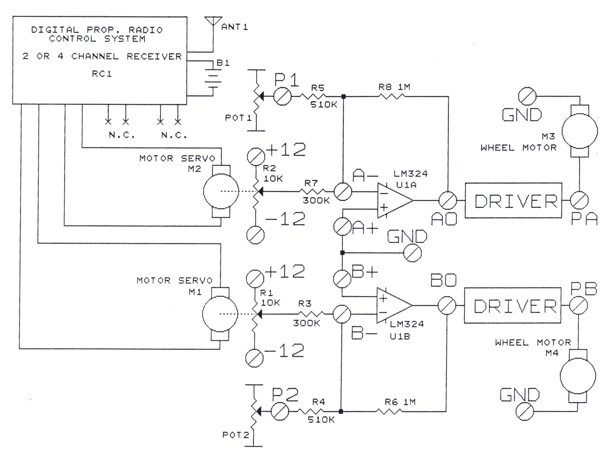 instructional diagram for radio remote control using the power amplifier board  [ 2124 x 1564 Pixel ]