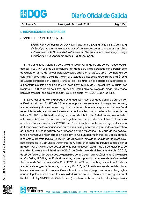 Galicia Orden De 1 De Febrero De 2017 Por La Que Se Modifica La Orden De 27 De Enero De 2014 Loyra Abogados