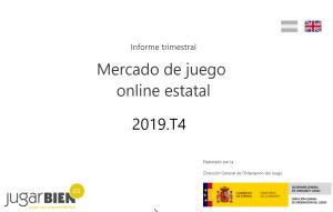 DGOJ: Cuarto Informe Trimestral 2019 sobre juego online, portada de la página web