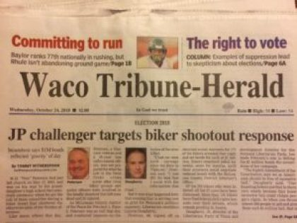 Newspaper front page with masthead Waco Trubune-Herald and headline challlenger targets biker shortcut resp