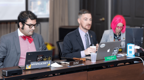 LNC Vice Chair Alex Merced, Chair Nicholas Sarwark, and Secretary Caryn Ann Harlos