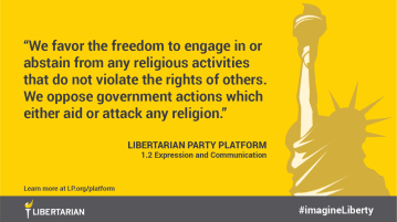 We favor the freedom to engage in or abstain from any religious activities that do not violate the rights of others. We oppose government actions which either aid or attack any religion.
