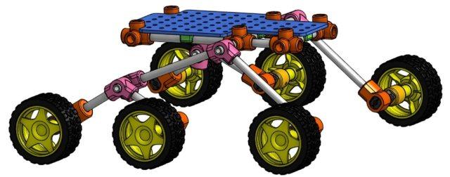 Modélisation 3D d'un rover d'exploration de Mars avec une structure à 6 roues appelées rocker bogie