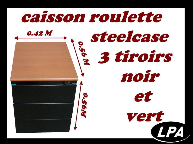 Caisson Strafor Vert Et Noir 3 Tiroirs Caisson