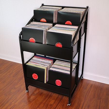 LPBIN3 Vinyl Record Storage Cabinet with Wheels