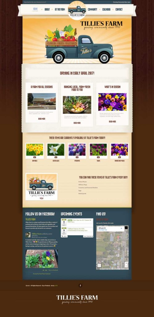 tillies farm new website design