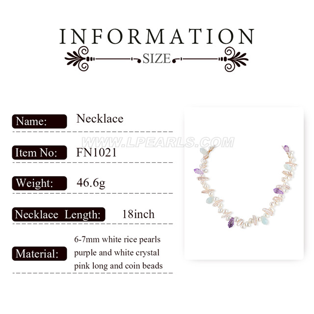 6-7mm white pearls crystal necklace for women 18