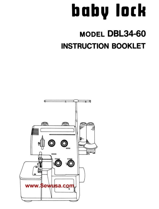Babylock Model EA 605 Instruction Manual PDF