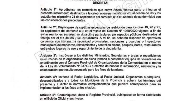 EL GOBIERNO PROVINCIAL PROHIBIÓ LOS FESTEJOS DE LOS ESTUDIANTES POR LA PANDEMIA