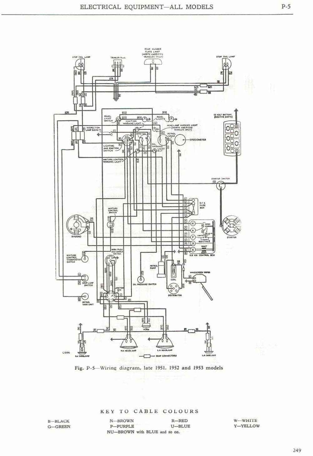 medium resolution of  wiring diagram late 1951 and 1952 1953 models