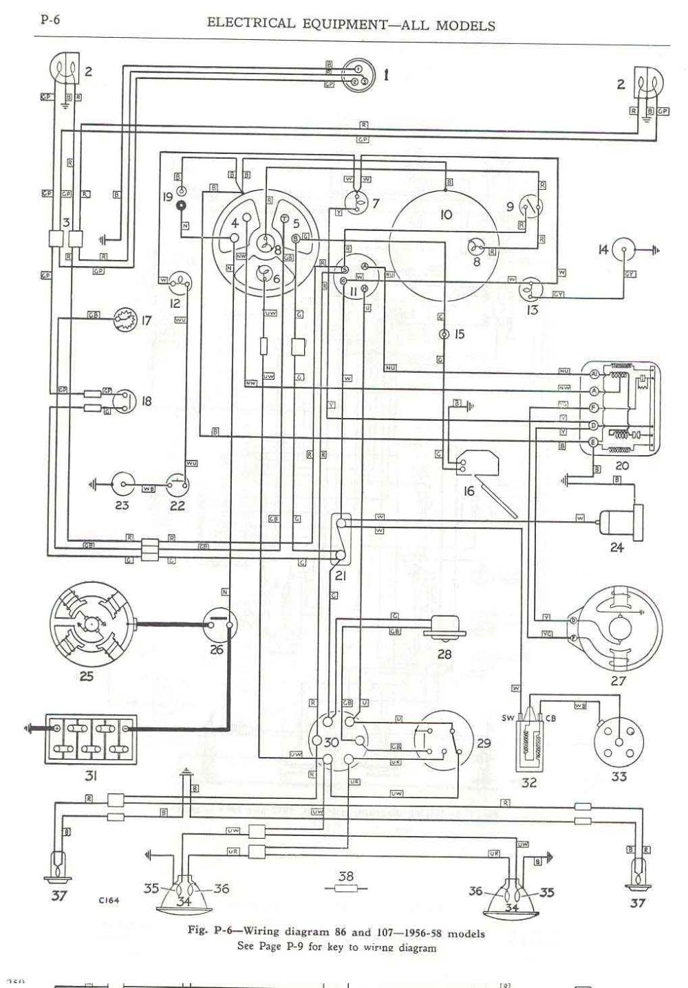 medium resolution of  wiring diagram 86 and 107 1956 58 models