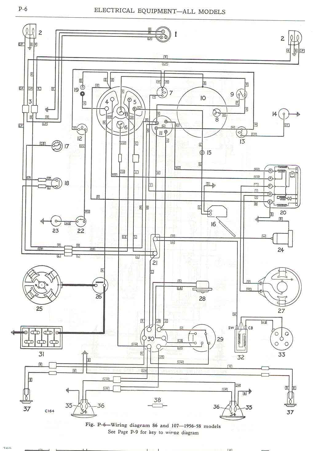 hight resolution of  wiring diagram 86 and 107 1956 58 models