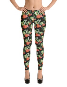 Floral Flower Black Leggings 2