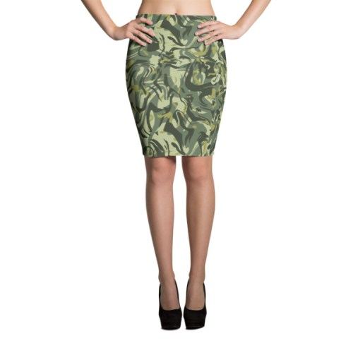 Green Camo Swirl Pencil Skirt