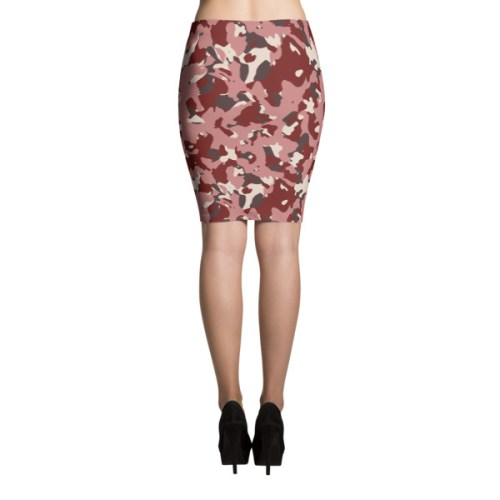 Red Camo Pencil Skirt