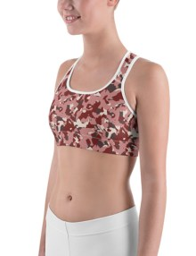 Women's Red Camo Print Sports bra 2