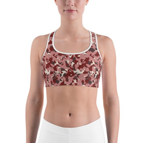 Women's Red Camo Print Sports bra 3
