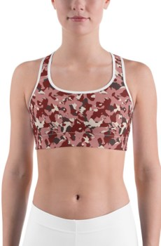 Women's Red Camo Print Sports bra 3