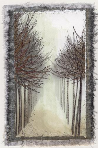 To the Light #2  Stitchery on photographic print
