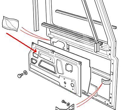 Land Rover Defender indvendig stålplade til fordøren fra
