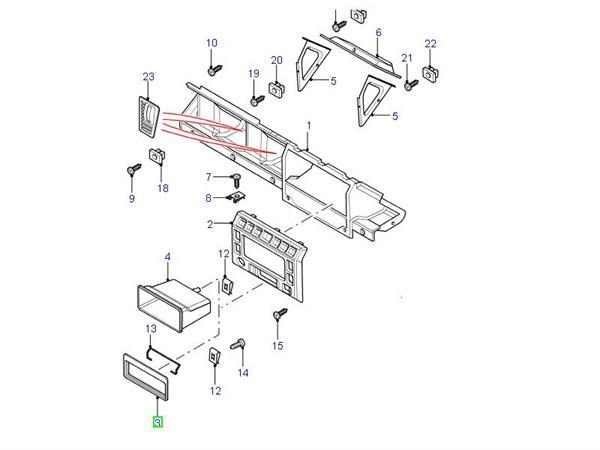 Land Rover radio panel for Defender modellen