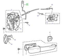 Land Rover låsepal for Discovery 2 bagdøre