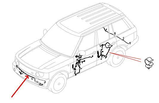Range Rover ledningsnet for forreste parkeringssensorer