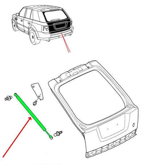 Land Rover gascylinder for bagerste trin bræt på Discovery 2