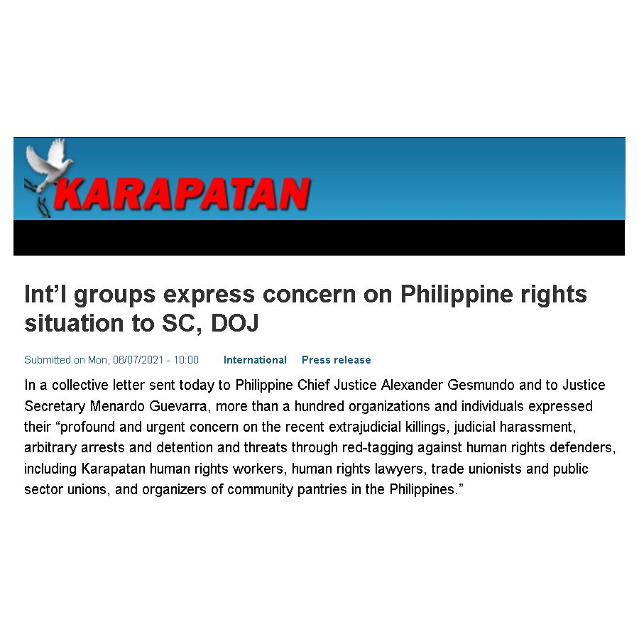 Philippines: Halt extrajudicial killings and attacks on human rights defenders   Joint letter