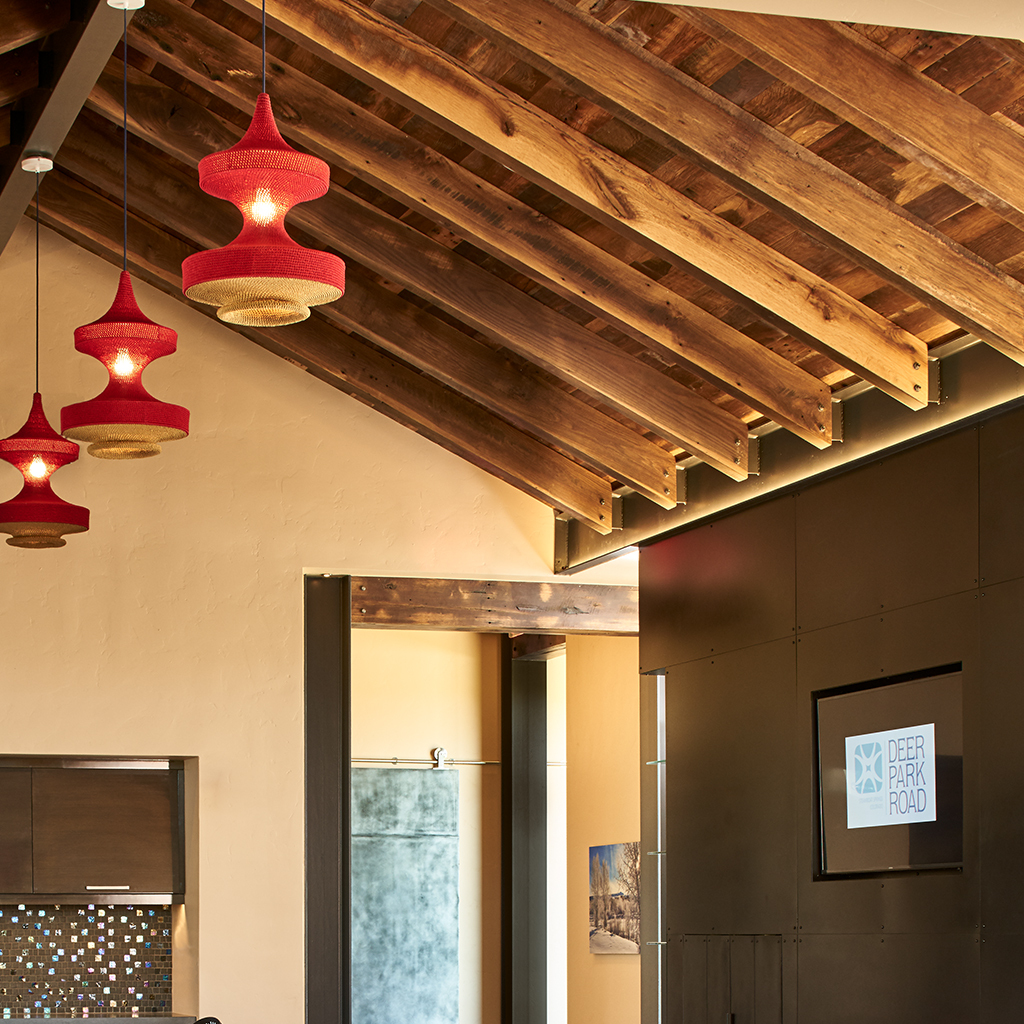 how to light an open ceiling with beams