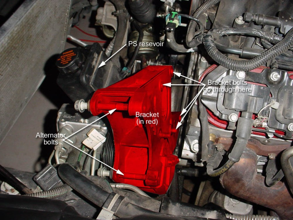 medium resolution of with the ps cooler line unbolted and the 2 lines to the power steering gearbox undone we re now ready to unbolt our powersteering pump bracket and remove