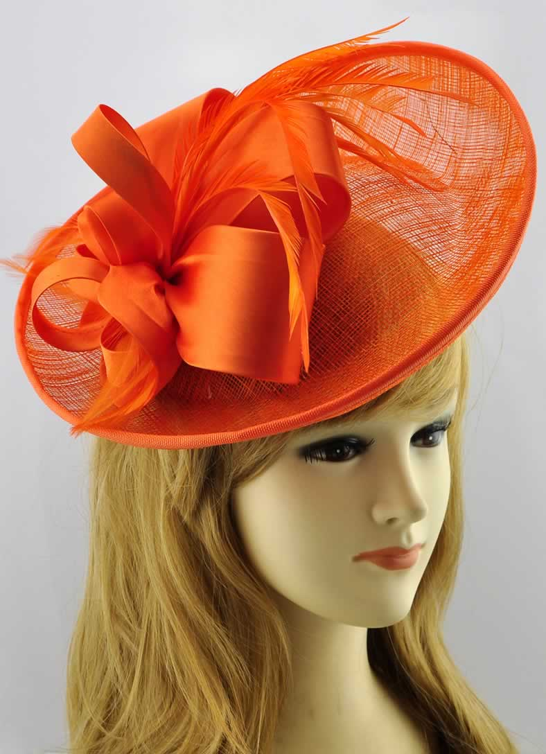 Wholesale Orange Mesh Hat Feather Fascinator
