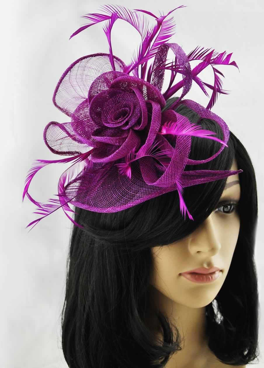 Wholesale Purple Feather & Mesh Flower Fascinator on Comb