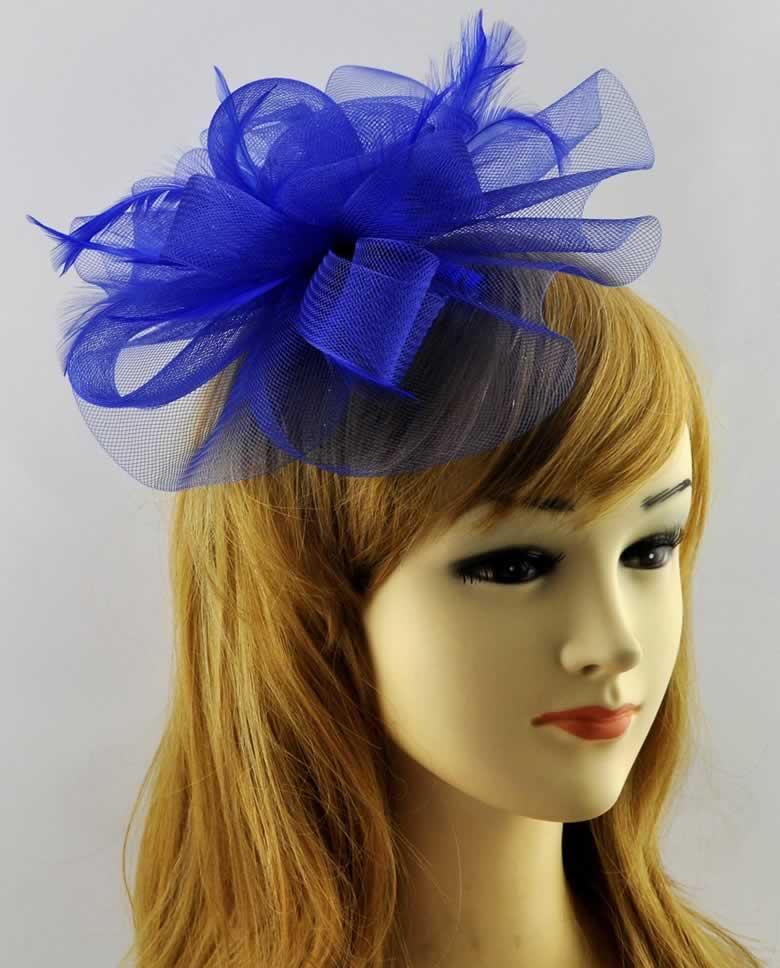 Wholesale Blue Mesh Flower Hair Clip Fascinator