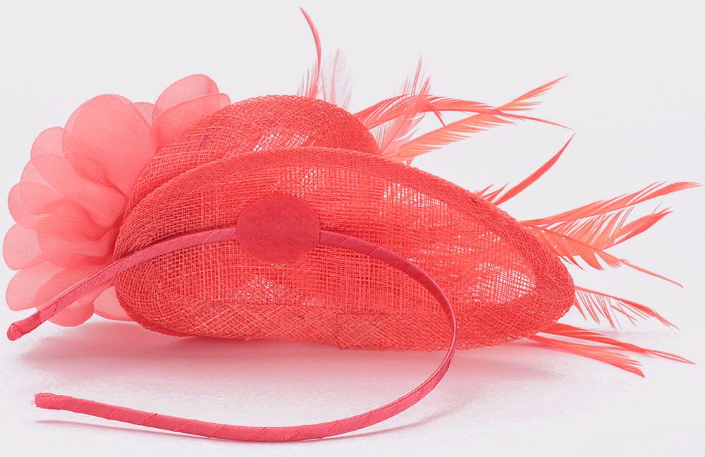 Coral Feather Fascinator on Headband