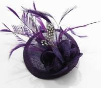 Wholesale purple Feather & Mesh Flower Fascinator on Clip ...