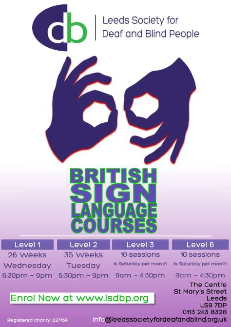 British Sign Language course poster, level 1, 2, 3 and 6