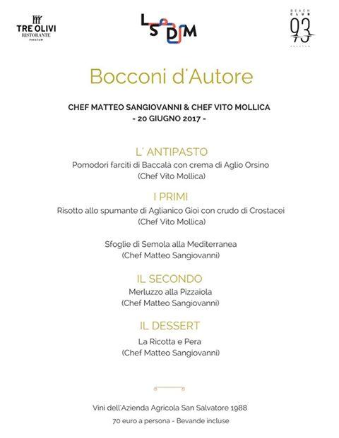 Il menù proposto da Vito Mollica e Matteo Sangiovanni