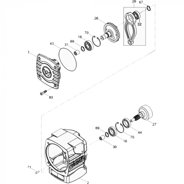 Crankcase Comp Assy for Wacker BS50-2 (Walbro Carb, Manual