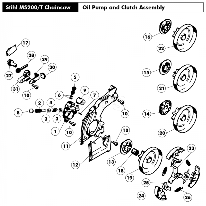 Oil pump & Clutch Assembly for Stihl MS200 MS200T