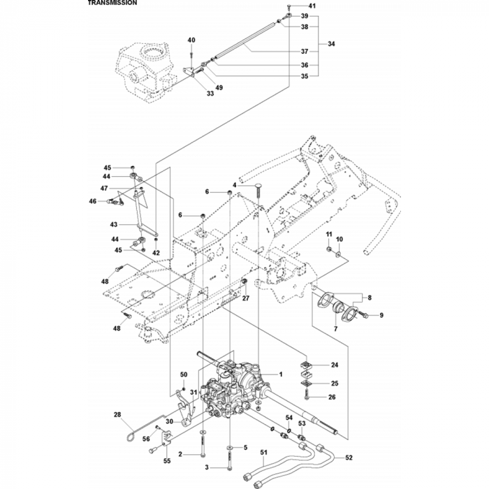Transmission Assembly-2 for Husqvarna R316 TsX AWD Riders