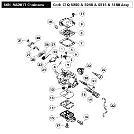 Carburettor C1Q-S250, S248, S214, S188 Assembly for Stihl