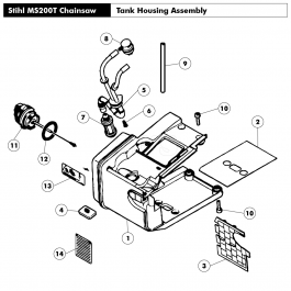 Tank housing MS 200 T Assembly for Stihl MS200T Chainsaws