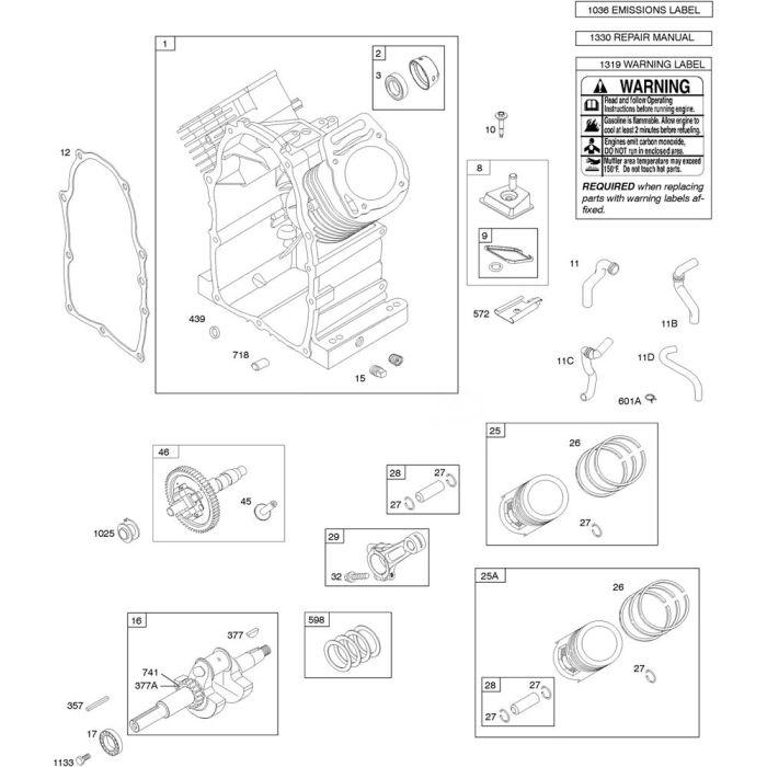 Camshaft, Crankshaft, Cylinder and Piston Assembly for