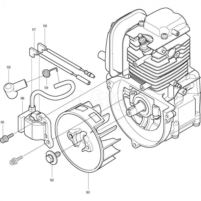 Ignition and Flywheel Assembly for Makita BHX2501 Leaf