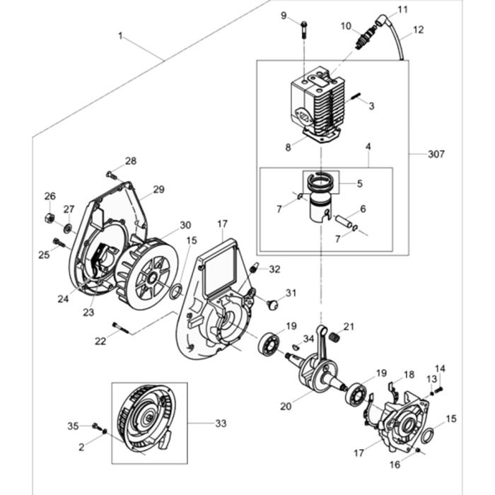Engine-WM 80 Assy for Wacker BS50-2 (Walbro Carb, Manual