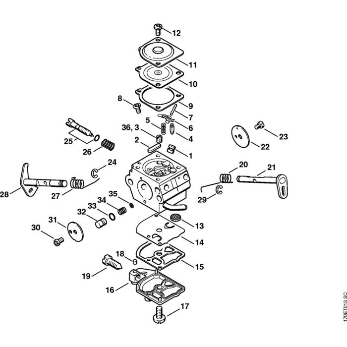 Carburetor C1Q-S46 Assembly for Stihl 019T Gasoline