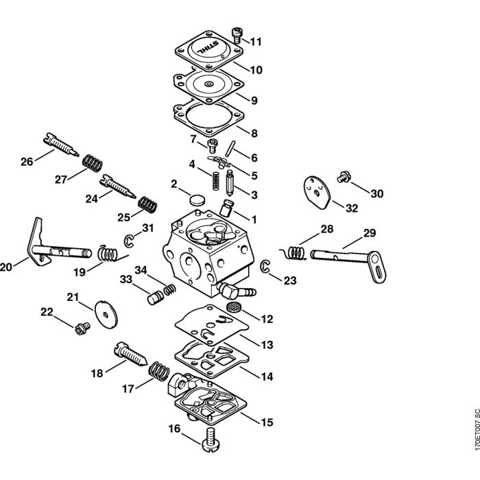 Carburetor WT-451 51.97 Assembly for Stihl 019T Gasoline